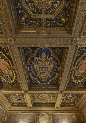 Detail of the ceiling in the main dining room of the residence
