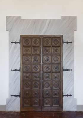 An internal wooden door in the ambassador's residence