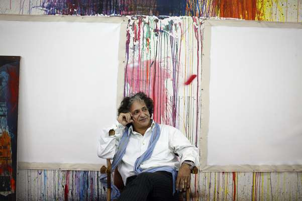 Artist Bedri Baykam in his gallery, which doubles as his studio