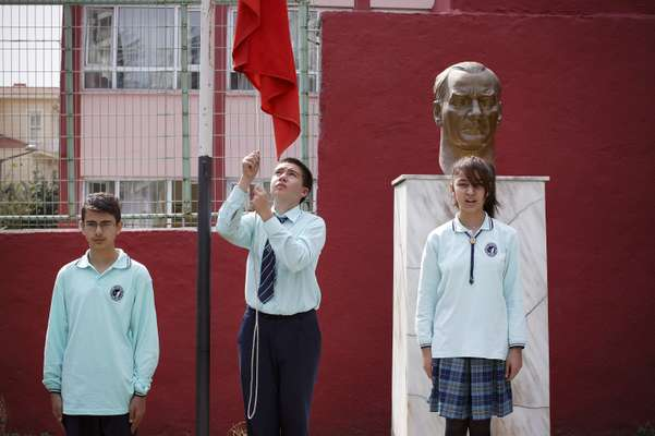 Atatürk's bust in the playground at  Cihangir primary school in Beyoglu
