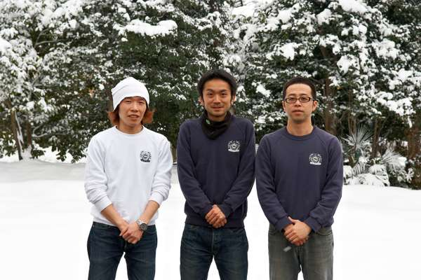 Left to right, brew masters Ryuji Honda, Kohichi Watanabe and brewer Junichi Ito