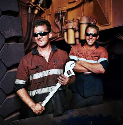 Tom Lindfield  and Adrian Heath, mechanics at Woodie Woodie Camp.