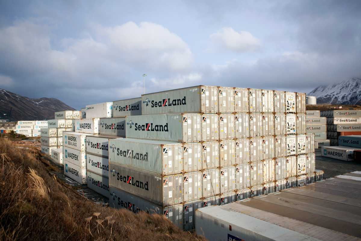 Shipping containers at Dutch Harbor's international port
