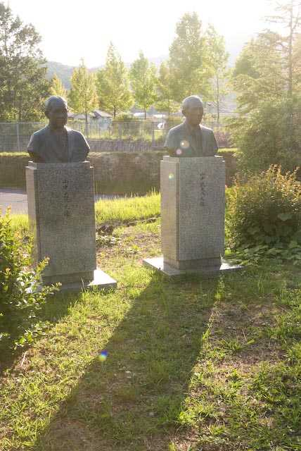 Statues of Takeo (right) and Tadashi Yamanaka