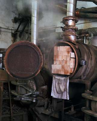 Wood being steamed in the bending workshop
