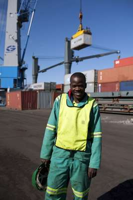 Unloading containers at Port Maputo
