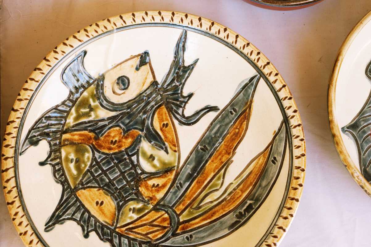 Traditional big fish design from Tsuboya pottery