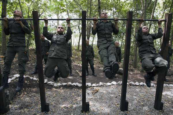 Students do chin-ups