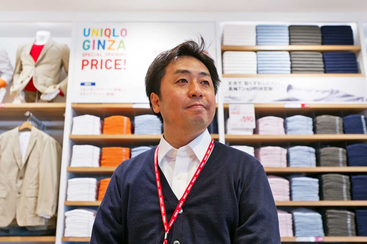 Teruaki Matsumoto, store manager of the new Uniqlo in Ginza
