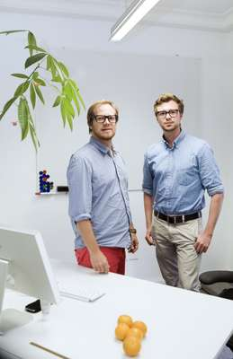 Andreas Wester and Jacob Holmberg, graphic designers at Lucerne HQ