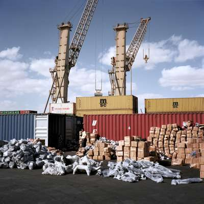 Containers at DP World Sokhna being searched by customs officials