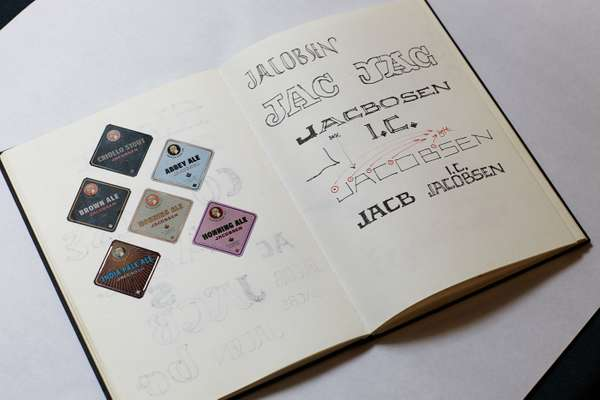A sketch book featuring Jonas Hecksher's hand-drawn preliminary font ideas
