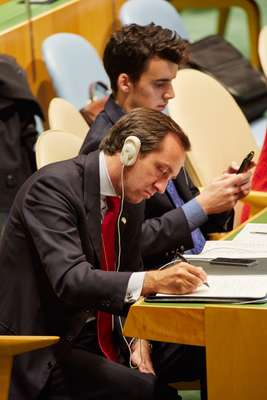 Italian delegates in the UN General Assembly Hall