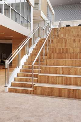 Central wooden staircase