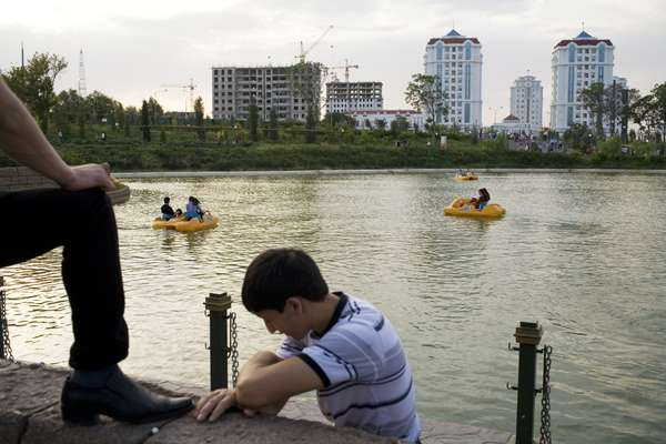 Boating on an artificial lake in 'Disneyland'