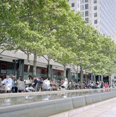 Outdoor seating at Battery Park