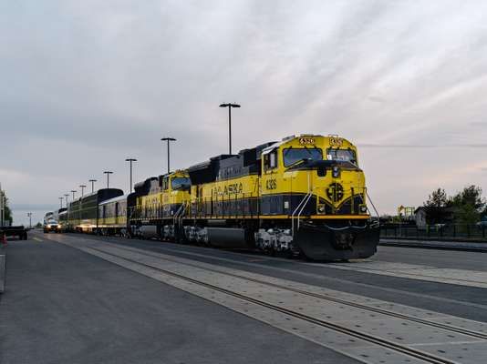 Alaska Railroad train Coastal  Classic arriving  at Anchorage