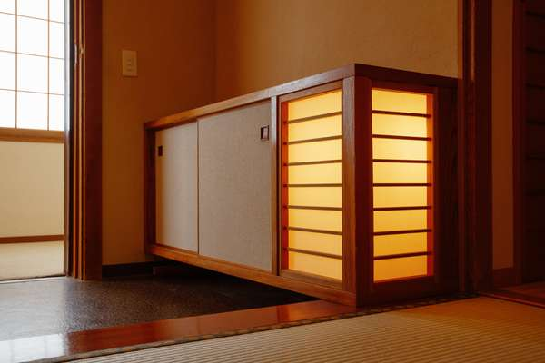 Cupboards with built-in light