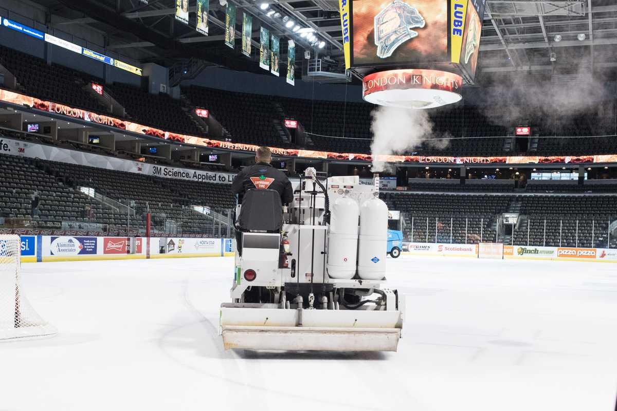 Zamboni preparing the ice