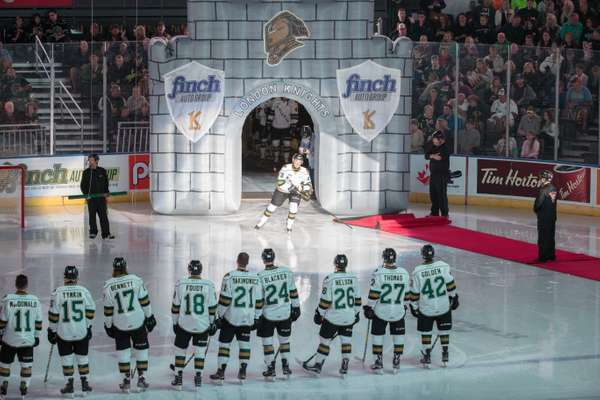 London Knights taking to the ice and lining up