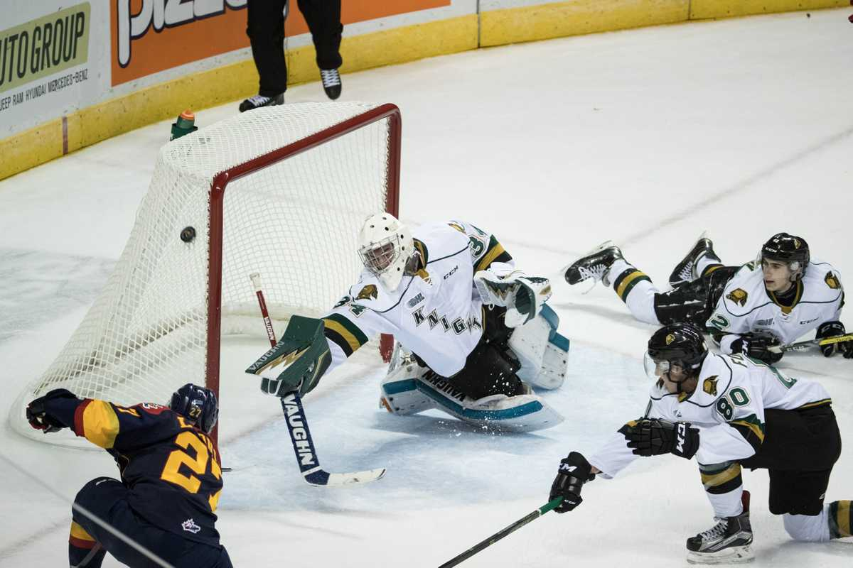 Knights goaltender Tyler Johnson defending the team's lead from an Otters onslaught