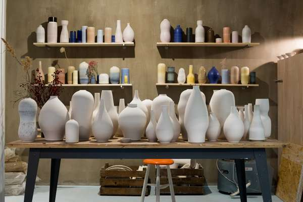 Pots waiting to be decorated at Tortus Copenhagen