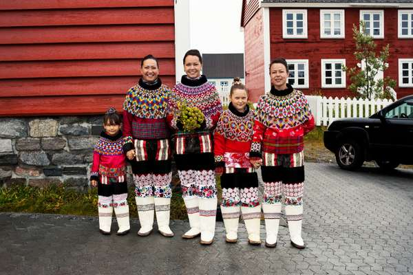 A wedding party in traditional Greenlandic costumes