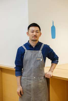 Member of staff at Shibuya's Blue Bottle Coffee outlet