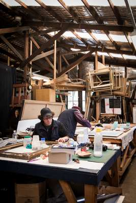 Painter Robert Dujin and sculptor Stephen Coburn in their studio