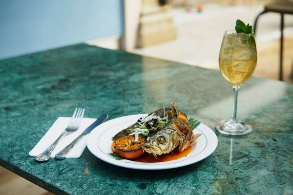 Whole crispy seabass at Farang (with a Fulham Spritz)