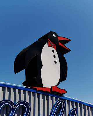 The newly opened Mel's Drive-In with its preserved penguin mascot