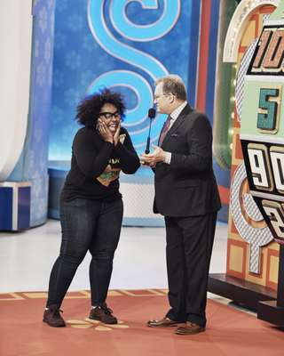 'The Price is Right' host Drew Carey with a jubilant contestant