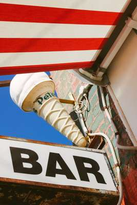 Cone-shaped lights are emblematic of milk bars