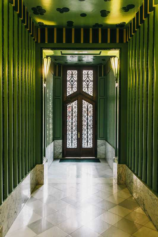 Casa Xina's emerald entrance hall