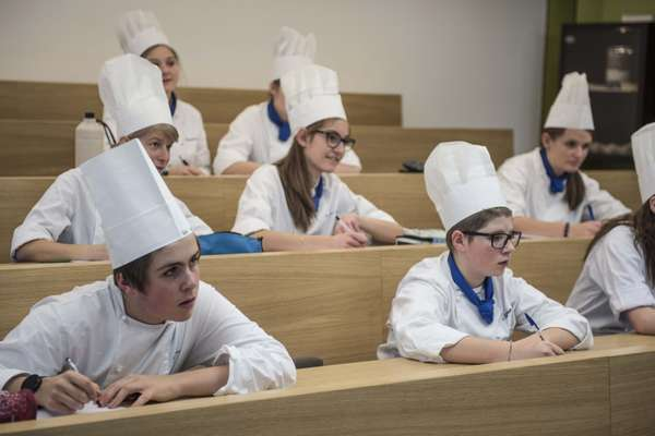 Future chefs in the Brunico Hotel School classroom