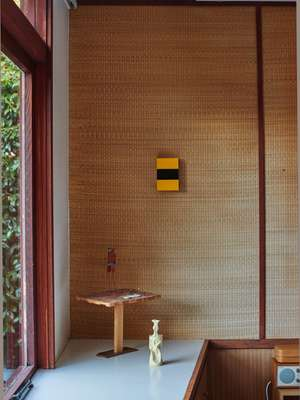 Tatami covers the walls of the master bedroom