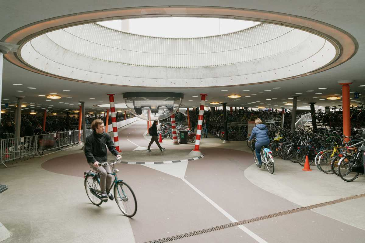 Bike storage under Groningen train station