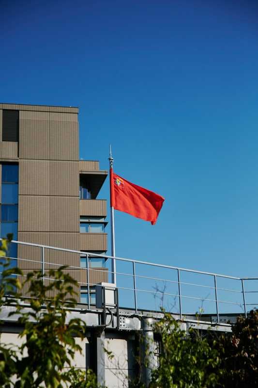 Flying the party's red flag