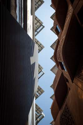 View from the narrow streets with the Masdar Institute on the left