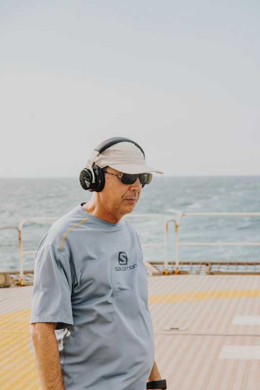 Captain Carlos García Rodríguez doing his daily exercise