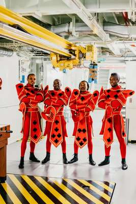 Acrobatic troupe African Stars in 'Wonderland' dress