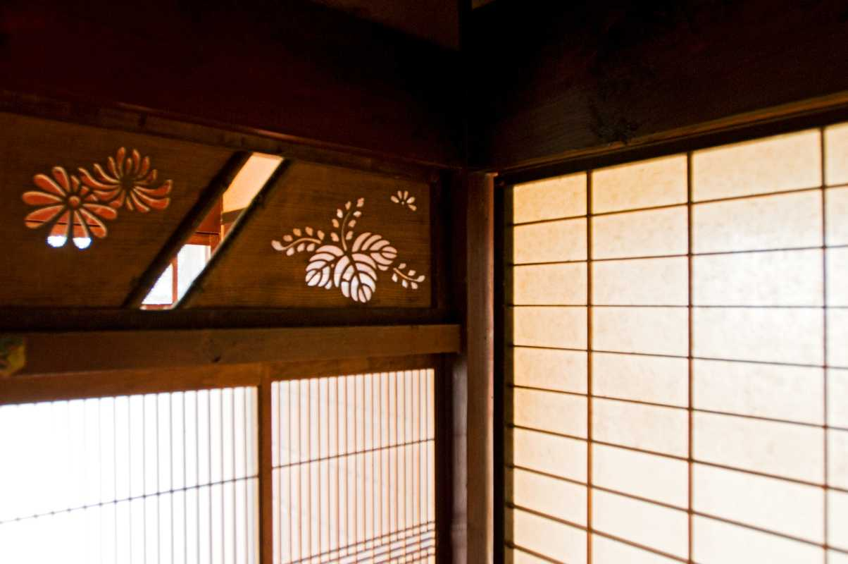 Shoji paper screens in a restored farmhouse