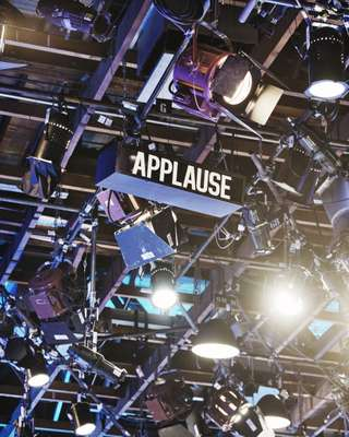 Please clap: audience prompter at the 'Wheel of Fortune' studios