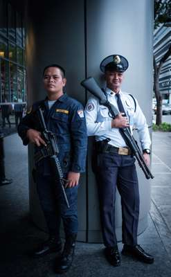 Most offices, malls and hotels in Manila have armed guards outside