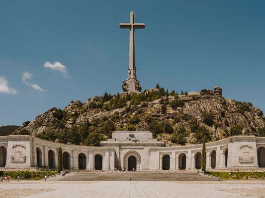 The 130-metre-tall cross above the basilica housing Franco's grave