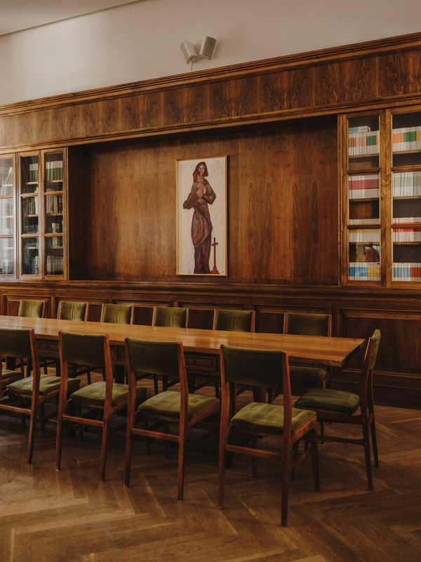 Monastery library; monks  run the adjoining restaurant
