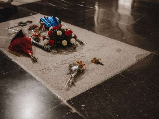 The fascist dictator's bouquet-covered tomb