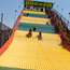 Burlap sacks ahoy for a ride on the cunningly named Giant Slide, recently braved by presidential aspirant Pete Buttigieg