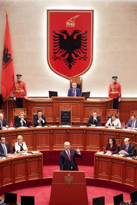 Rama takes the floor of Albania's parliament as prime minister
