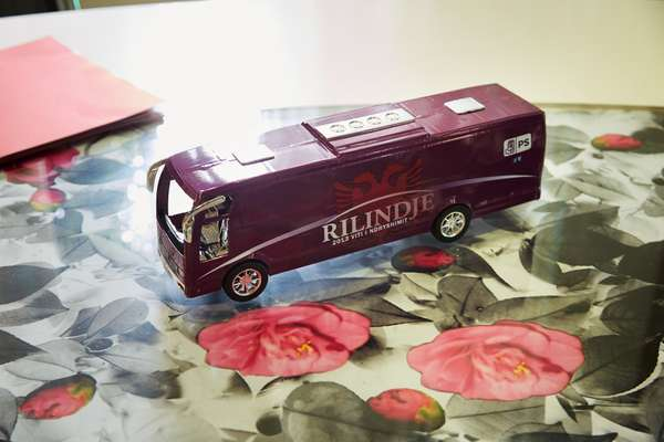 Model of Rama's campaign bus